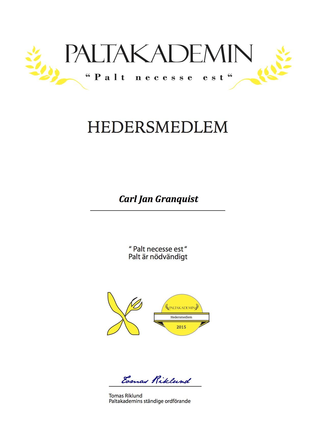 Hedersmedlem Carl Jan Granquist 2015