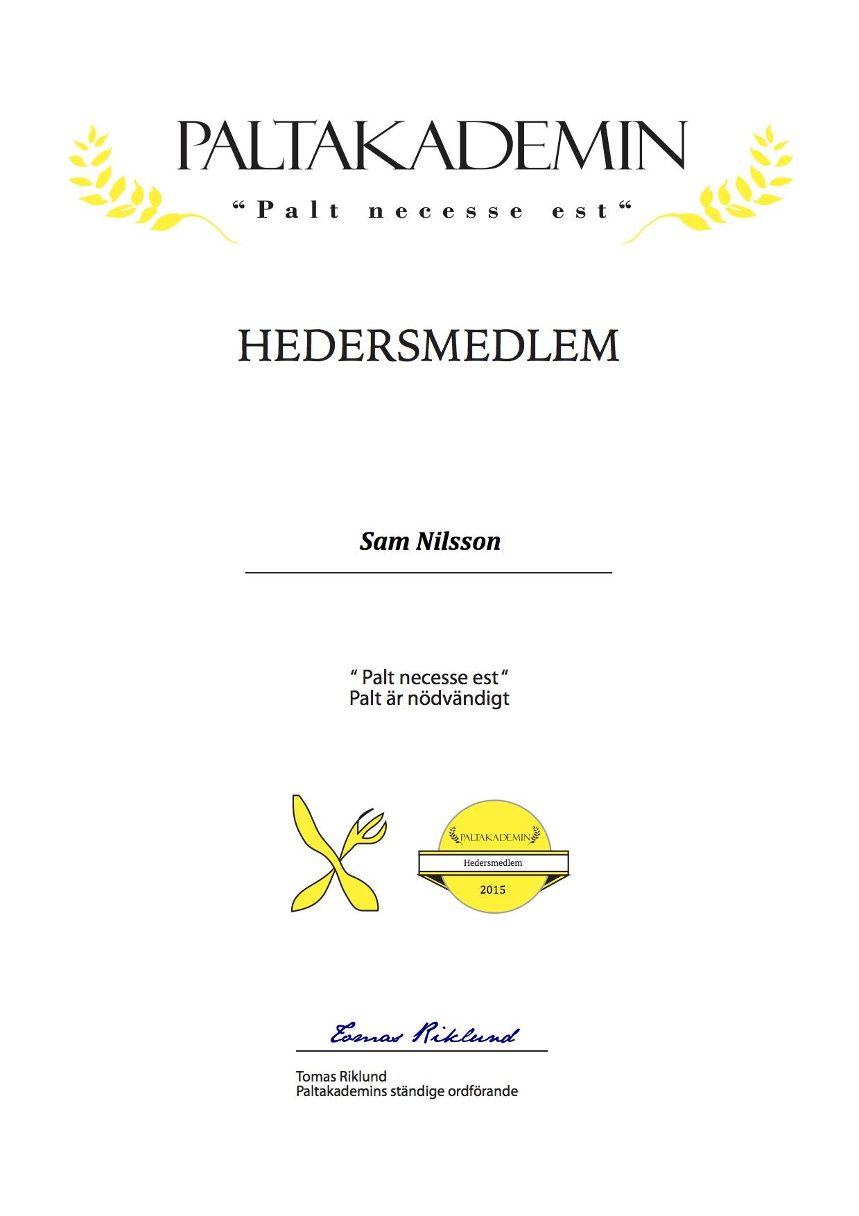 Hedersmedlem Sam Nilsson 2015