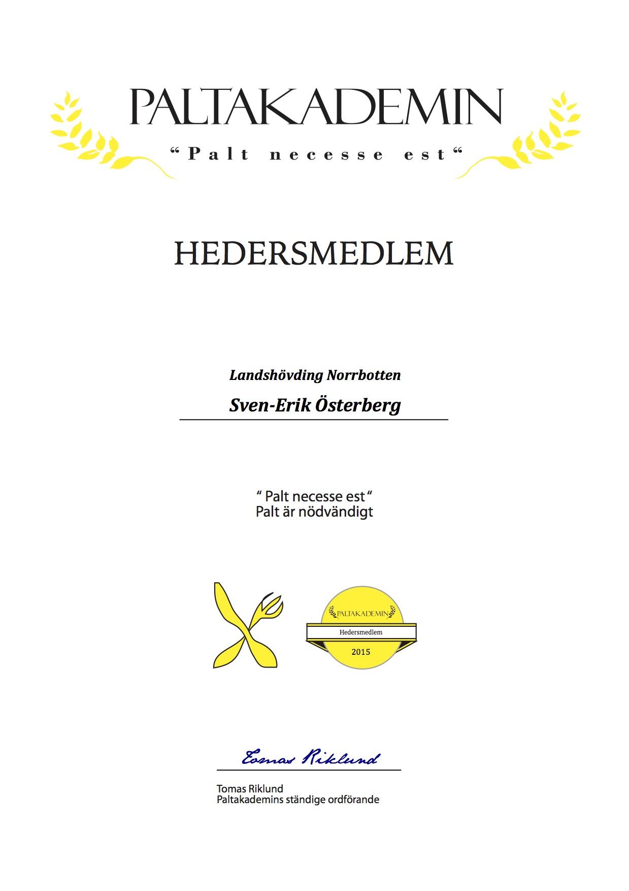 Hedersmedlem Sven-Erik Österberg 2015