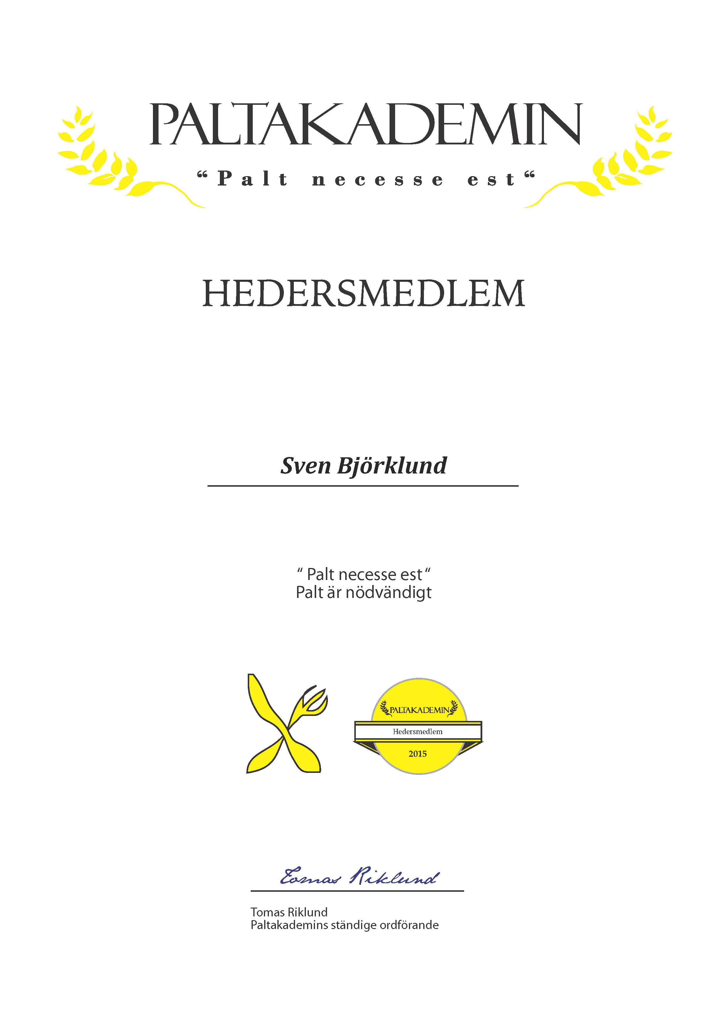 Hedersmedlem Sven Björklund 2015
